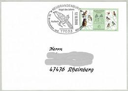 Deutschland 2008, Brief Neubrandenburg - Rheinberg, Kuckuck / Cuculus Canorus, Vogelschutzwarte Seebach - Cuckoos & Turacos