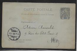 Grande Comore - Entiers Postaux Acep CPRP 2 Oblitéré CàD Hex. Bleu 1897 - TB - Storia Postale
