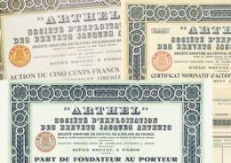 "3 X ""ARTHEL"" – PDF, Certificat & Action - A - C"