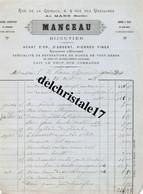 72 0041 LE MANS SARTHE 1876 Dorure Argenture Gravure Métaux MANCEAU Bijoutier Rue De La Grimace à Baron MÉNARD De GROIX - 1800 – 1899