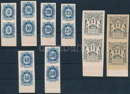 (*) 1874 Távirda Sor, Az Eredeti Nyomólemezről Készült Fogazatlan Próbanyomatok Kartonpapíron, ívszéli Párokban / Telegr - Unclassified