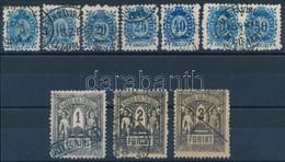O 1873 Távírda Kőnyomat Teljes Sor, Benne 50kr Párban + 2Ft 2 Példányban, A Forintos értékek Különböző érvénytelenítések - Unclassified