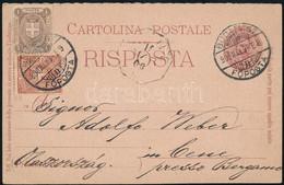 """1900 Olasz Válaszos Levelezőlap 1 + 2 Centesimi Bélyeggel """"BUDAPEST / FŐPOSTA"""" Bélyegzéssel, Külföldi Válaszos Levelezől - Unclassified"""