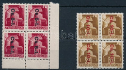** 1946 Betűs Cs. 5-I./30f + Cs. 10-I./80f Négyestömbök (64.000) - Unclassified