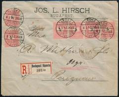 1893 6 X 5kr Túlsúlyos Ajánlott Levélen A Franciaországi Perigueux-be. Látványos és Ritka Darab!! - Unclassified