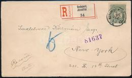 """1895. Dec. 13. Második Súlyfokozatú Ajánlott Levél 30kr Szóló Bérmentesítéssel """"BUDAPEST"""" - New York, Rendkívül Ritka RR - Unclassified"""