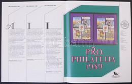 ** 1989 Pro Philatelia Blokk Bélyegkincstár Felirattal, 3 Mm Piros Sorszámmal (55.000) / Mi Block 207 With Text Bélyegki - Unclassified