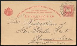1900 5kr Díjjegyes Levelezőlap Déváról Argentínába. Nagyon Ritka Darab!! - Unclassified