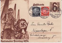 DR 3 Reich Sonder Ganzsache P 251 ZF Dresden Ins Ausland 1934 - Stamped Stationery