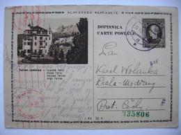 Slovakia Numbered Postcard 1942 To Protektorat, Censored, Censure. Censor - Postcards
