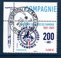 France 2021. De Mini Feuille Compagnie Des Guides De Chamonix.cachet Rond . - Used Stamps