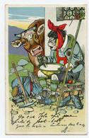 """Illustrateur. Animaux Habillés De Forme Humaine. Vache. """"  Le Montagnard  """"  Singe. Mal De Dents. Dentiste. - Scimmie"""