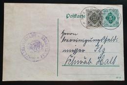 Württemberg 1919, Dienst Postkarte DP12, MiF PFAHLBRONN - Wurttemberg
