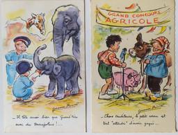Lot 2 Cartes ILLUSTRATION DE GERMAINE BOURET ENFANTS, ELEPHANTS , VEAU Concours Agricole - Bouret, Germaine