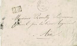 RARE Lettre De Marseille à Aix En 1839, PP, Avec Au Verso Deux Taxes De 10c Au Tampon - 1801-1848: Precursors XIX