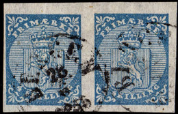 Norwegen Wappen Nr.1 Paar   BERGEN 26.06.1856   Norway Norvege Noruega - Used Stamps