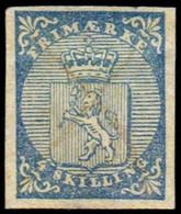 Norwegen Wappen Nr.1  Abgewaschene Tintenentwertung  Nachgummiert    Norway Norvege Noruega - Gebruikt
