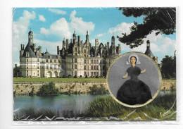 Carte Brodée Minidoll Poupée Solognote En Médaillon , Château De Chambord Val De Loire  - Neuve Sous Blister - Embroidered