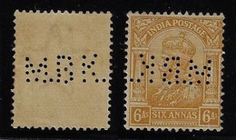 India Stamp Issued In 1910s King George V With Perfin M.B.K. Mitsui Bussan Kaisha From Calcutta Insurance Company - Otros