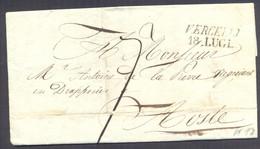 """1835 PREFILATELIA LETTERA DA VERCELLI AD AOSTA TASSATA """"7"""" - 1. ...-1850 Prefilatelia"""