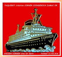 """SUPERBE """"PAQUEBOT"""" Ancienne Création CORNER, COINDEROUX : ZAMAC Base Or, Ecriture Verso RELIEF, Format 3,2X2,7cm - Barche"""