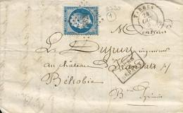 France LAC Losange PC 3320 Tarbes 24/10/62 / YT 22 ALD  Pour Béhobie - 1849-1876: Klassieke Periode