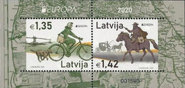 "LETONIA /LATVIA /LETTLAND /LETTONIE -EUROPA 2020- ""ANCIENT POSTAL ROUTES"" -  SOUVENIR SHEET - 2020"