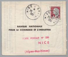 AMBULANT NICE A BREIL - POSTE FERROVIAIRE - TRAIN / 1961 PLI POUR NICE (ref LE4484) - Spoorwegpost