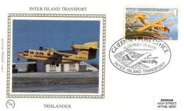 (QQ 35) Jersey Silk FDC (Premier Jour) 1981 - Benham Sik First Day Cover - Translander (aircraft) - Jersey
