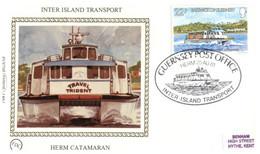 (QQ 35) Jersey Silk FDC (Premier Jour) 1981 - Benham Sik First Day Cover - Herm Catamaran (boat) - Jersey