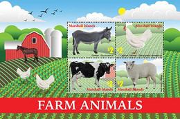 Marshall Islands 2020 Fauna Farm Animals, Horse,cow, Chicken, Sheep I202104 - Marshall Islands