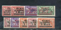 Memel 1922 Yt 20-28 * Timbres Pour La Poste Aérienne - Nuevos