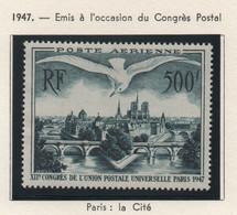 Lot De 2 Timbres Neufs Poste Aérienne 1947 Et 1949 YT PA 20 Et 29 500 F. Vert Foncé & 100 F. Rouge-brun Trace Charnière - 1927-1959 Ungebraucht