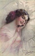Illustrateur Signé Portrait Jeune Femme RV - Frauen