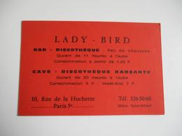 Lady Bird Bar Discotheque  Rue De La Huchette  Carte Commerciale Publicitaire - 1900 – 1949