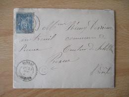 Sarras Ardeche  Obliteration Lettre Timbre Sage Boite Rurale  S - 1877-1920: Semi Modern Period