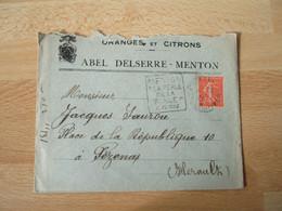 Menton Orange Et Citron Abel Delserre  Enveloppe Commerciale - 1900 – 1949
