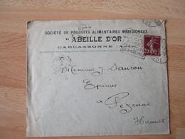 Daguin Carcassonne Flamme Omec Sur Enveloppe Commerciale Abeille D Or - 1921-1960: Modern Period