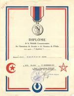 DIPLOME DE LA MEDAILLE COMMEMORATIVE DES OPERATIONS DE SECURITE ET MAINTIEN DE L'ORDRE ALGERIE 11/1961 - Documenti