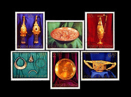 Rumänien / Romania: 'Pietroasa Goldschatz, 1973' / 'Pietroasele Treasure', Mi 3140-3145; Yv. 2803-2808; Sc. 2428-2433 Oo - Archéologie