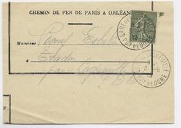 N° 130 LETTRE TIMBRE A DATE GARE DE LAQUEUILLE 6.5.1919 PUY DE DOME - Railway Post