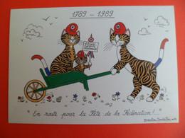 1989 Bicentenaire Revolution Tirage 1000 Ex. Ed. MONTMORILLON - Ill: BOURDILLON Famille Chat Bonnet Phrygien - Unclassified