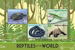 Marshall Islands 2020 Fauna Reptiles Of The World, Turtle, Komodo Dragon ,snake I202104 - Marshall Islands