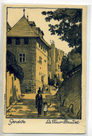 SUISSE  - 026 GENEVE  Illustrateur Ruelle Tour Baudet Femme Enfant 1910  Editeur VOUGA - GE Geneva