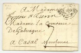 1725 Paris Pour Casale Monferrato Franc A Turin - 1701-1800: Vorläufer XVIII