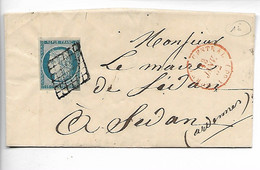 PARIS N°4 Cérès Margé Oblitération Grille + CAD Bureau Central Pour SEDAN 1852     ..G - 1849-1850 Ceres