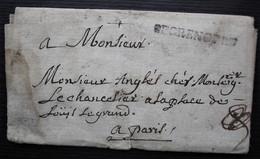 De Grenoble 1724, Marque 39 X 4 Sur Lettre Pour Paris, Reste De Sceau à L'arrière - 1701-1800: Précurseurs XVIII