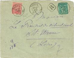 Lettre Recommandée N+ 75 Et 98 Obl Thiers Puy De Dôme 1895 - 1877-1920: Periodo Semi Moderno