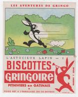 BUVARD ILLUSTRÉ - BISCOTTES  GRINGOIRE - AVENTURES DE GRINGO -  L'ASTUCIEUX LAPIN N°1 - Levensmiddelen