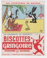 BUVARD ILLUSTRÉ - BISCOTTES  GRINGOIRE - AVENTURES DE GRINGO - LE CHARMEUR DE SERPENTS N° 3 - Levensmiddelen